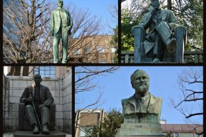 キャンパス内に点在する教授や創始者のブロンズ像