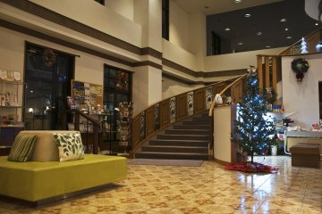 <p>The lobby was decorated with a small Christmas tree when I was there.</p>