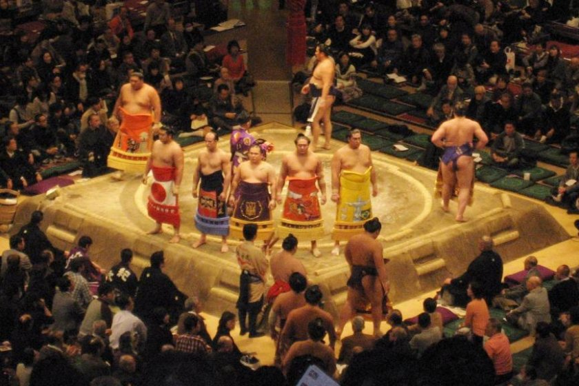 Wrestlers performing the ring entering ceremony