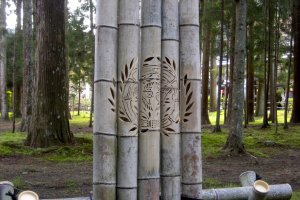 Date Masumune's family crest carved into a bamboo sign.