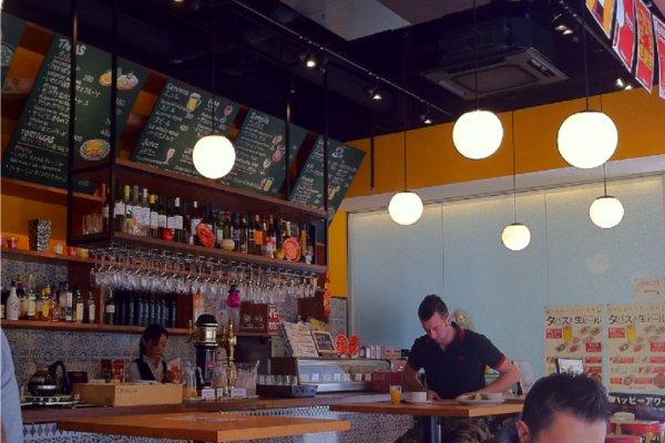 Massa Spanish Cafe downstairs serves hotel breakfast and tapas