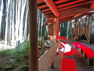 Inside the teahouse overlooking the bamboo garden