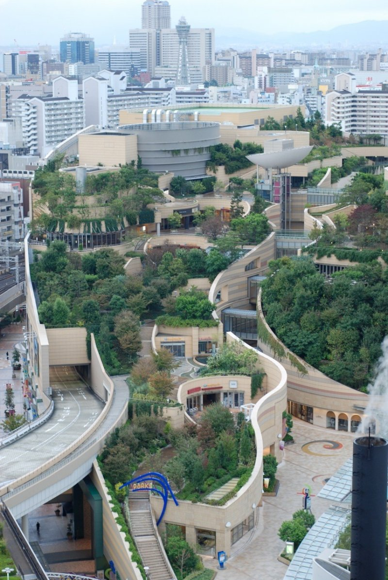 <p>The impressive terraced gardens of Namba Parks</p>