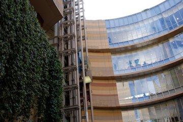 건축물은 자연석과 매달려있는 식물의 조화
