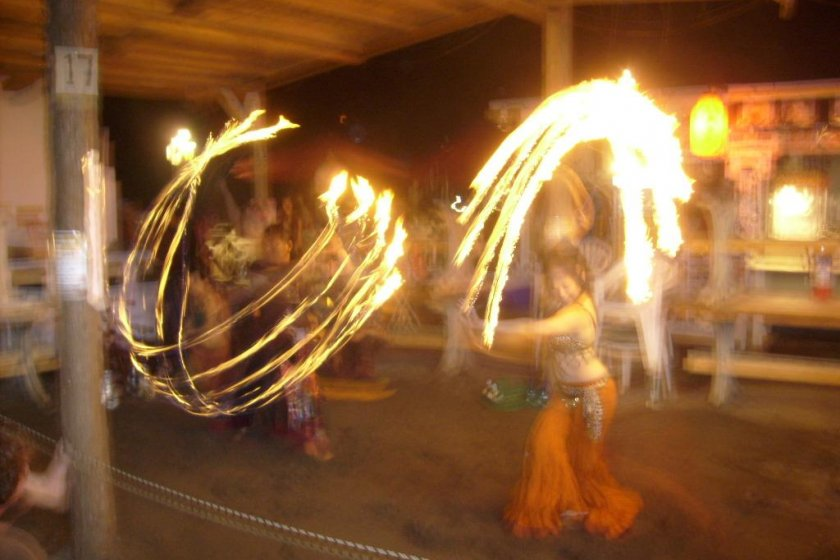 Fire dancers do their thing at Carnival Beach