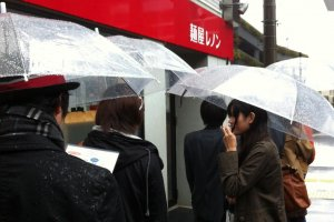 We will wait in the rain for a hot bowl of Lennon Ramen.