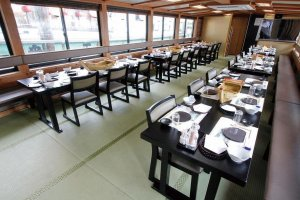 The ships have calm, modern Japanese interiors.