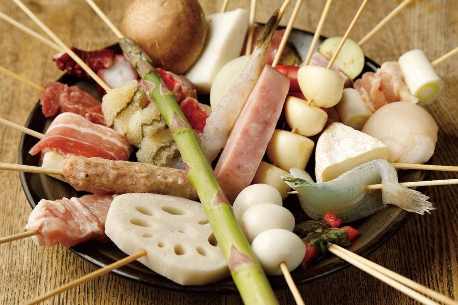 The restaurant's renowned Fried Skewers made with outstanding ingredients start at ¥130