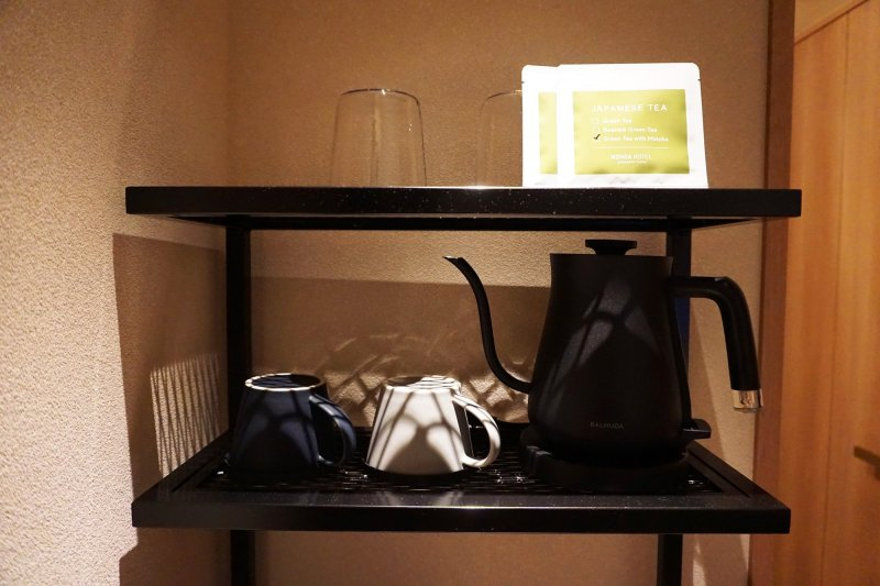 All rooms are provided with Japanese green tea and a kettle.