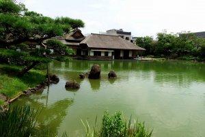 Yokokan Villa viewed from across the pond